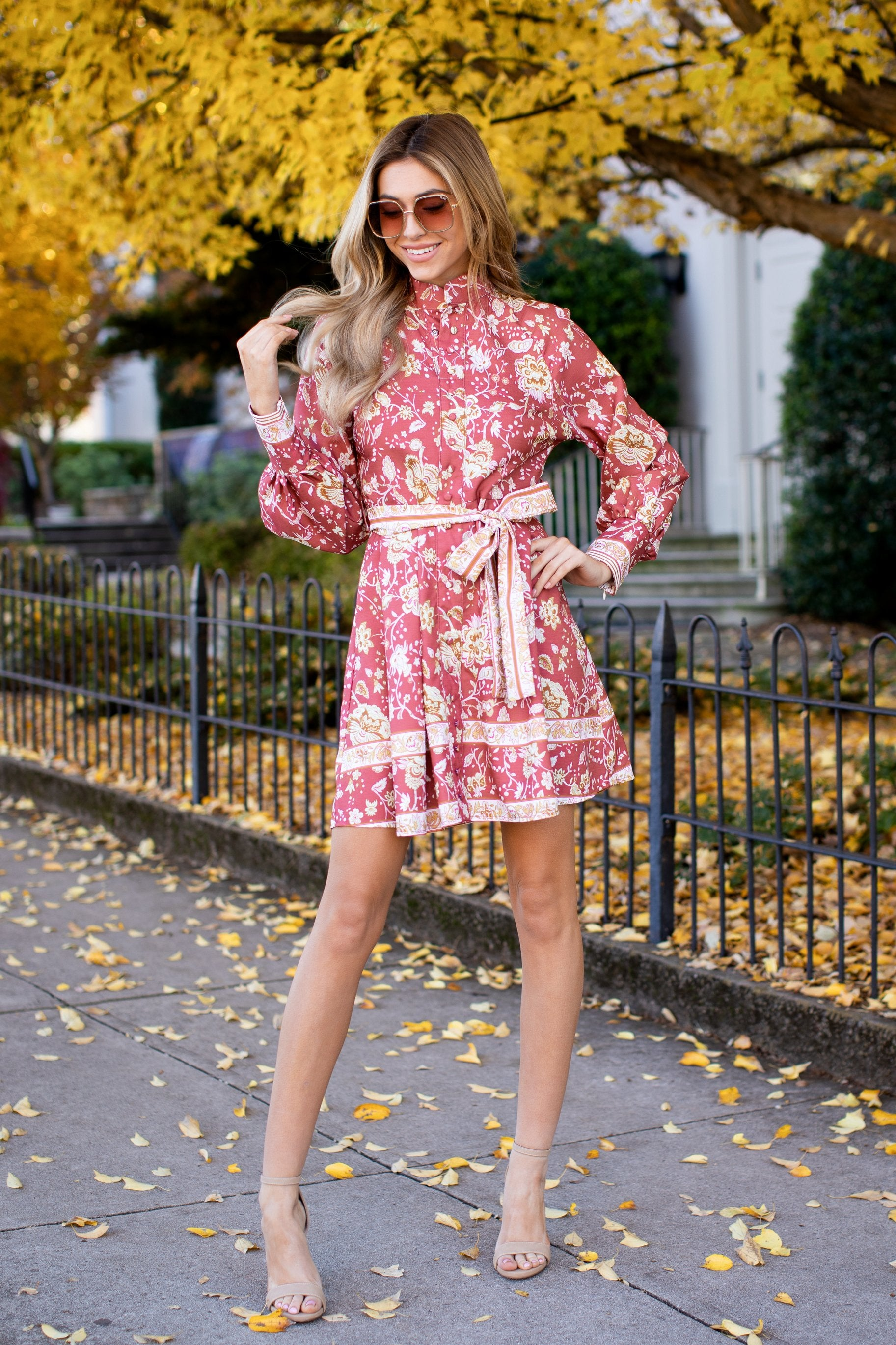 1 Certain Romance Rose Pink Floral Print Dress at reddressboutique.com