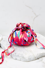 Goodie Bag Fuchsia Pink Bird Multi Print Pouch