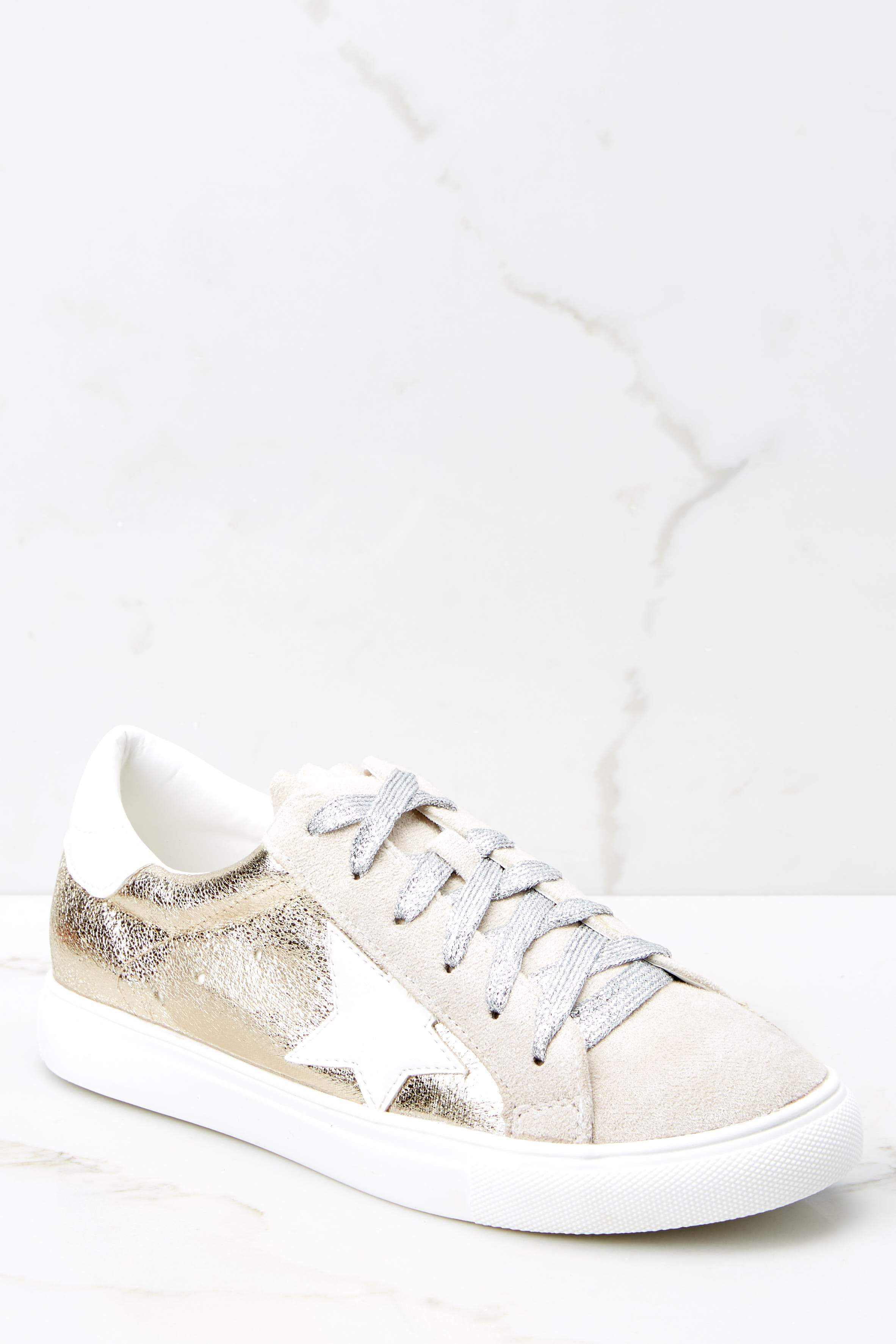 2 Getting Better Gold Sneakers at reddress.com