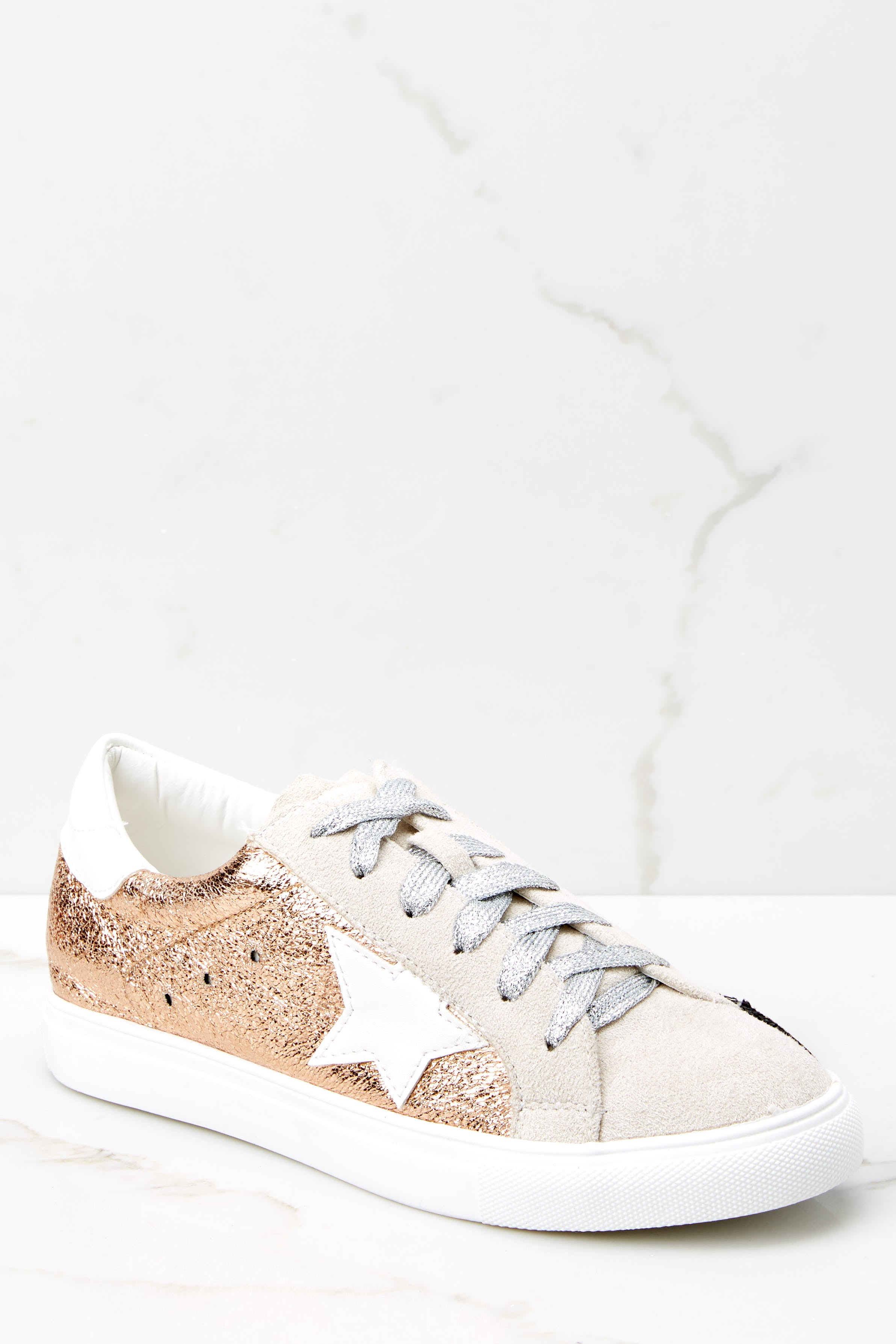 Trendy Rose Gold Sneakers - Shiny