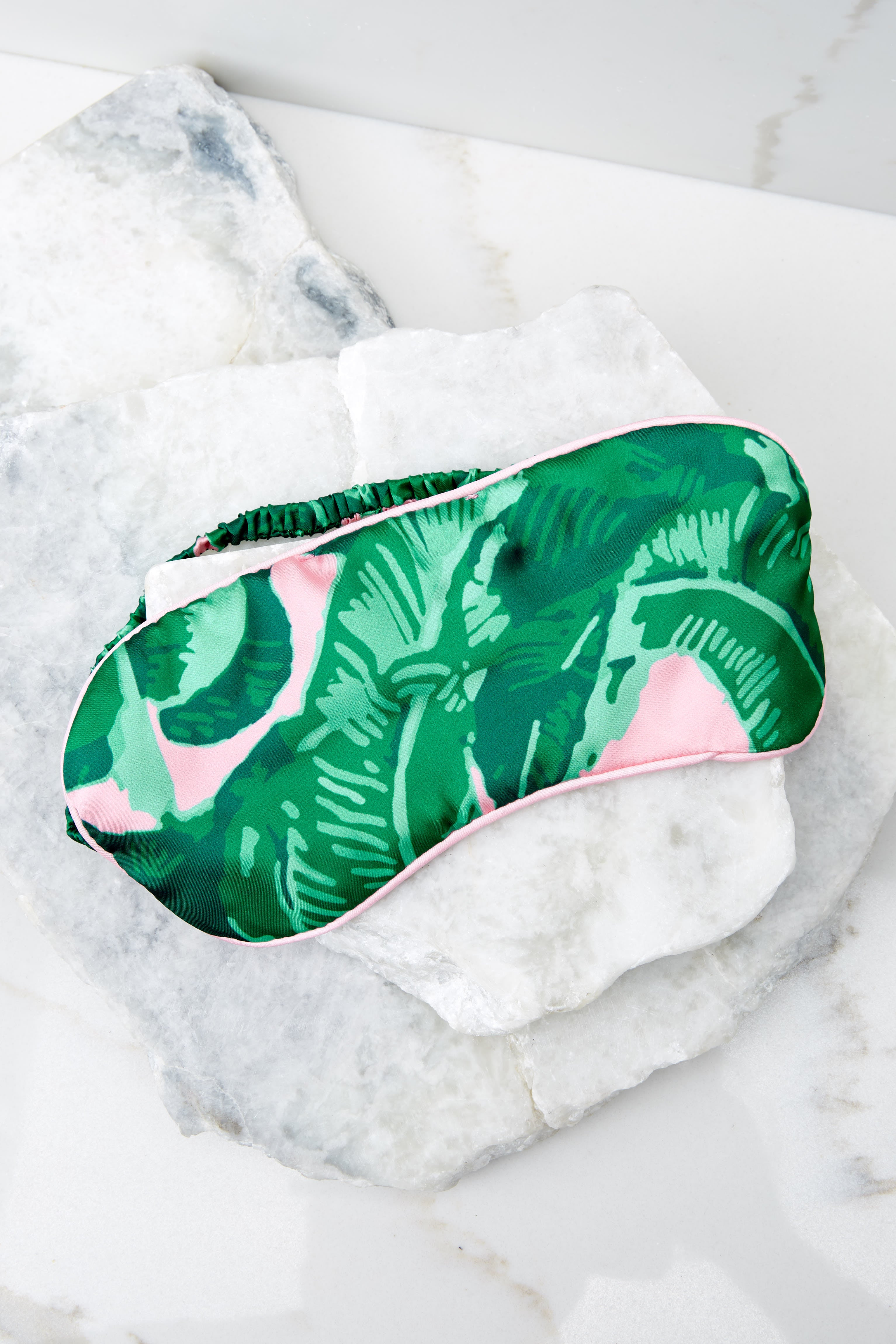 2 Woke Up Late Pink And Green Palm Print Eye Mask at reddressboutique.com