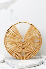 2 Lucky For You Light Brown Bamboo Round Bag at reddressboutique.com