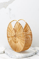 3 Lucky For You Light Brown Bamboo Round Bag at reddressboutique.com