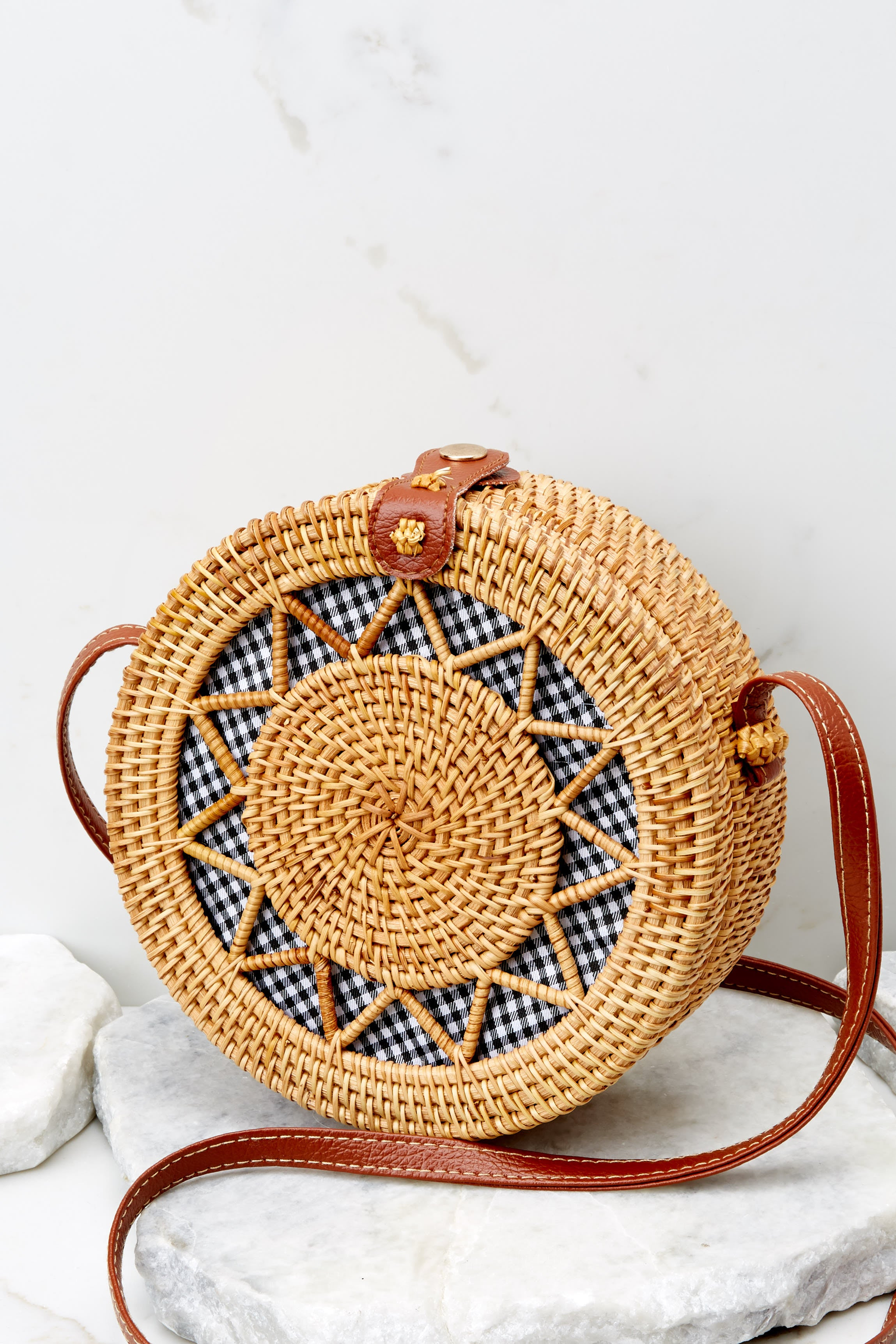 3 Chance Meeting Tan And Gingham Round Bag at reddressboutique.com