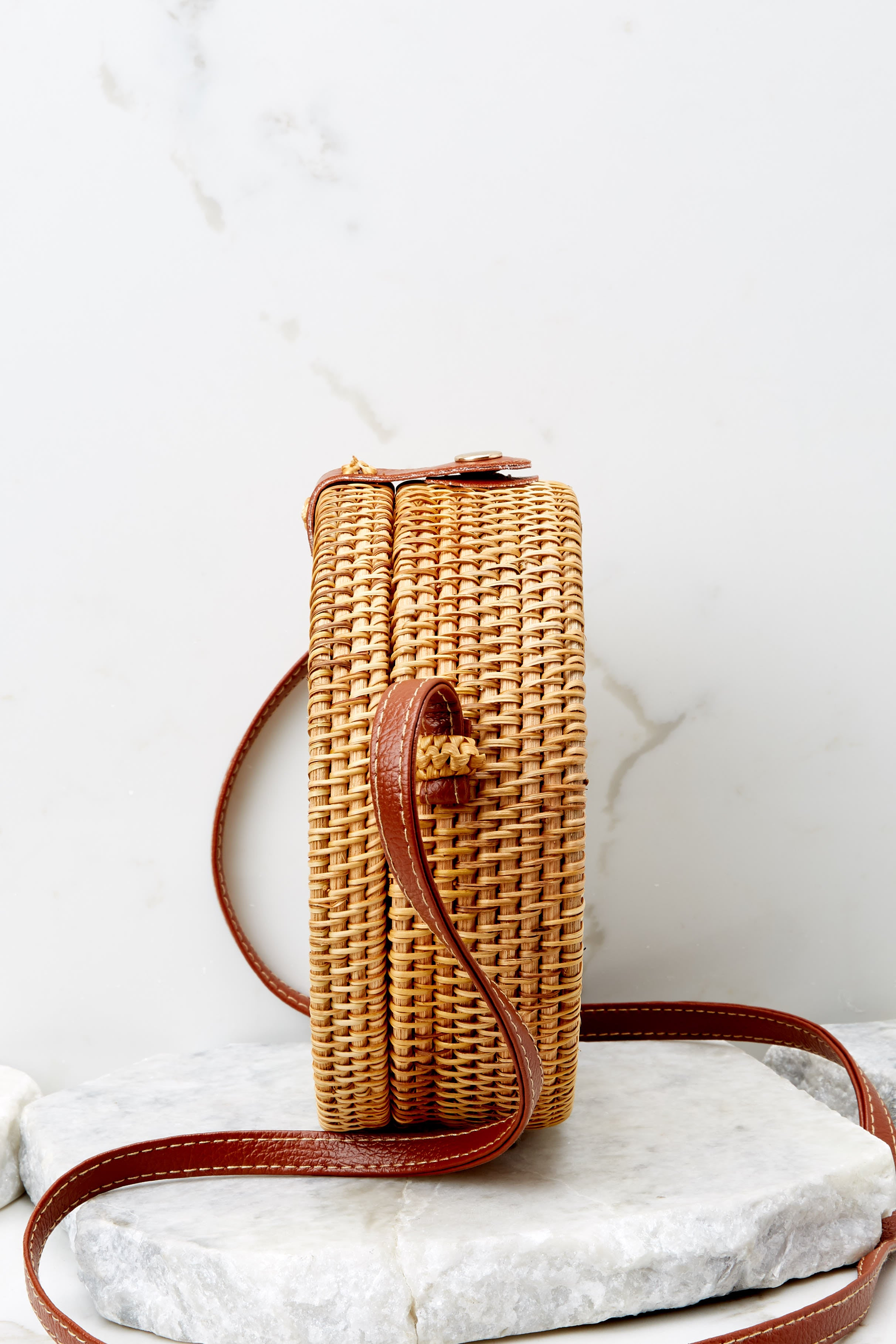 4 Chance Meeting Tan And Gingham Round Bag at reddressboutique.com
