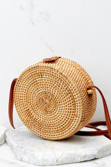 5 Chance Meeting Tan And Gingham Round Bag at reddressboutique.com