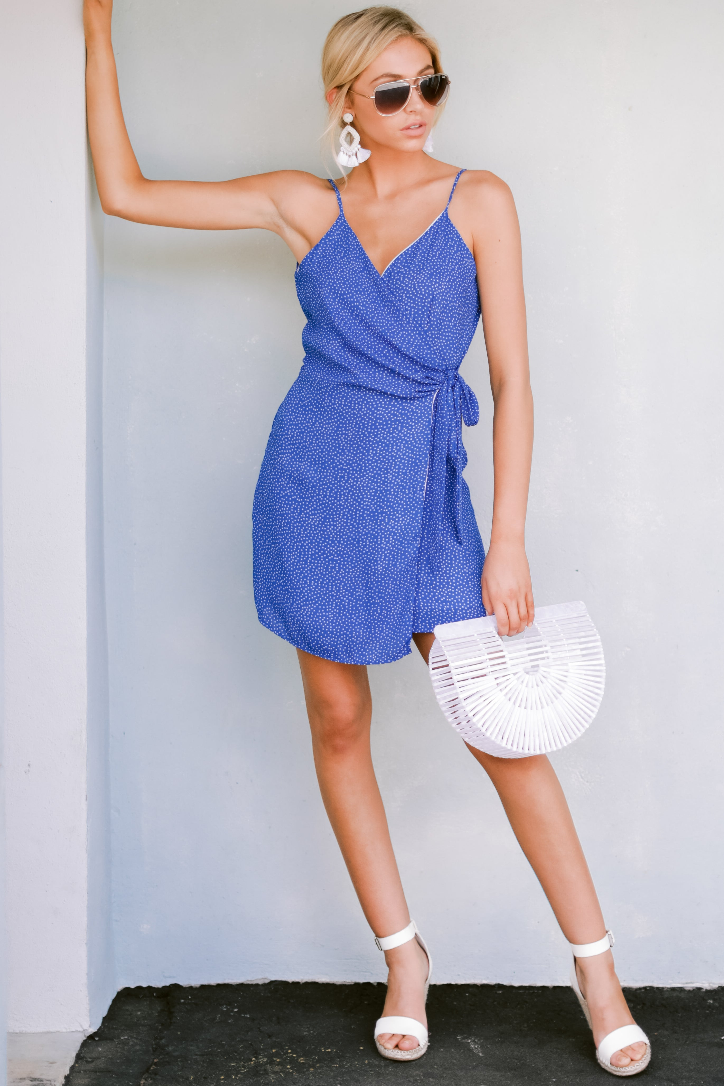 2 Think About Spring Blue Polka Dot Wrap Dress at reddressboutique.com