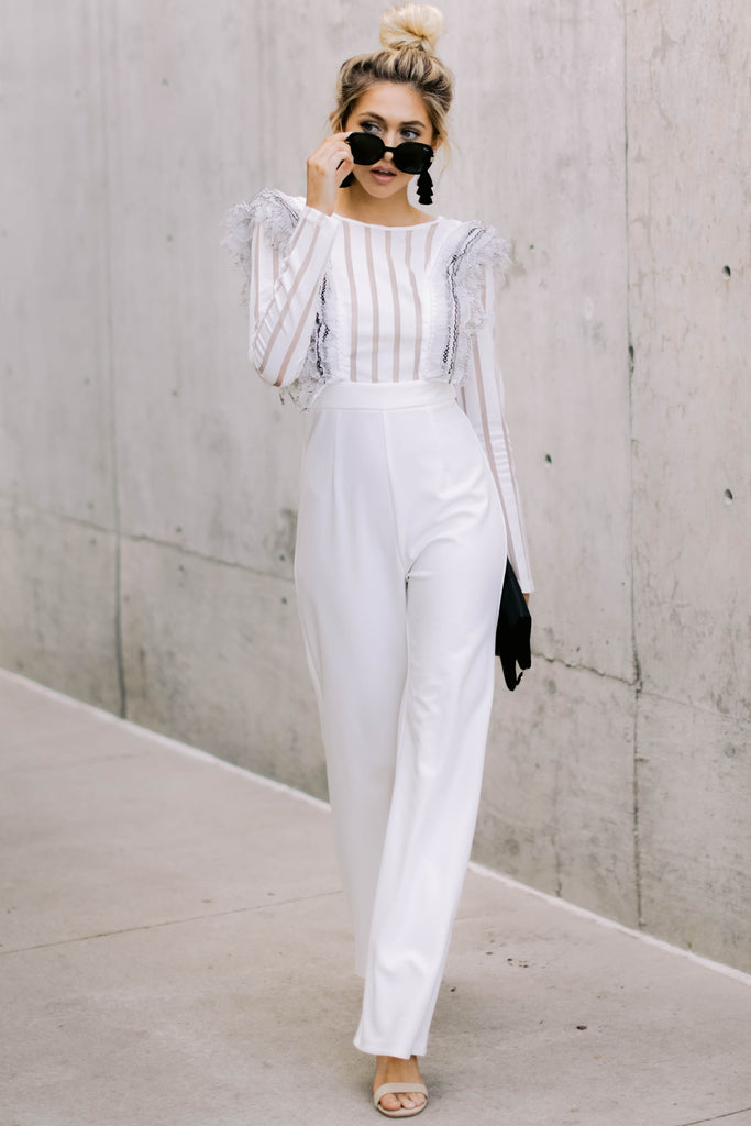1bdab46f7b Power Move White Lace Jumpsuit