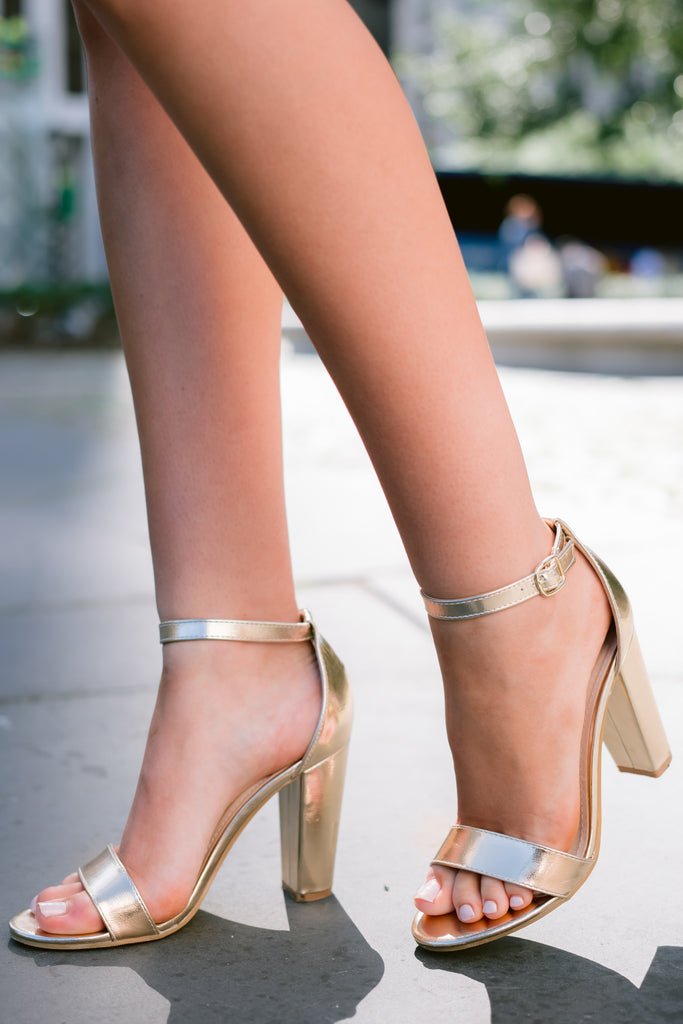 2 Dancing The Night Away Rose Gold Heels at reddressboutique.com