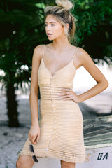 3 Storied Romance Beige Crochet Dress at reddressboutique.com