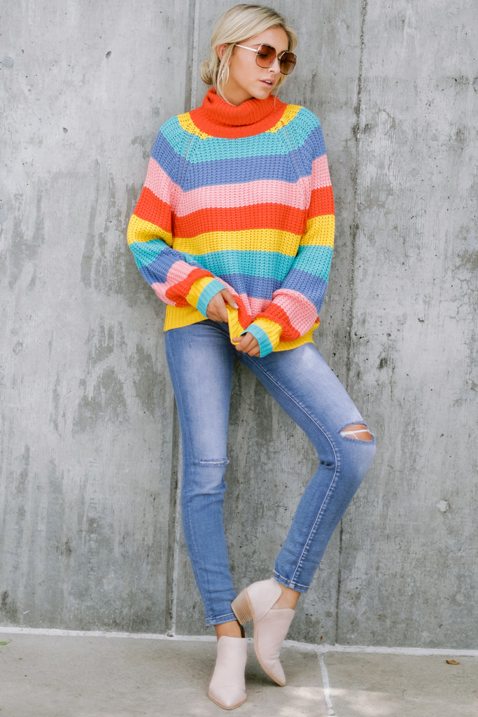 1 Go With You Orange Multi Stripe Cropped Sweater at reddressboutique.com