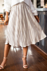 1 A Thing For You Champagne Midi Skirt at reddress.com