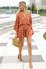 9 Perfect Impression Rust Orange Print Romper at reddressboutique.com