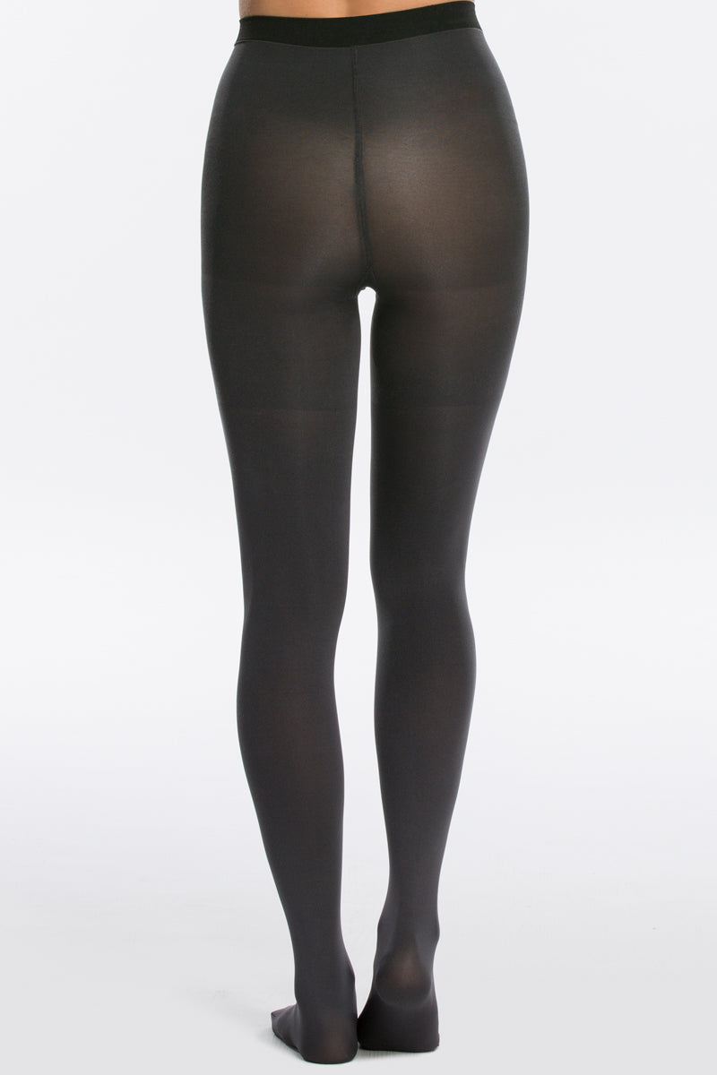 2 Spanx Black And Charcoal Reversible Mid Thigh Shaping Tights at reddressboutique.com
