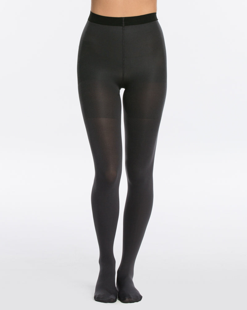 3 Spanx Black And Charcoal Reversible Mid Thigh Shaping Tights at reddressboutique.com