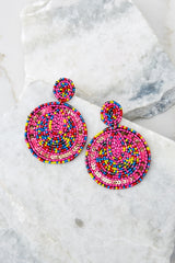 2 Festive Foray Pink Multi Beaded Earrings at reddressboutique.com