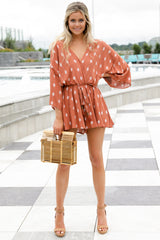 8 Perfect Impression Rust Orange Print Romper at reddressboutique.com