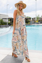 Over Land And Sea Tan Multi Print Maxi Dress