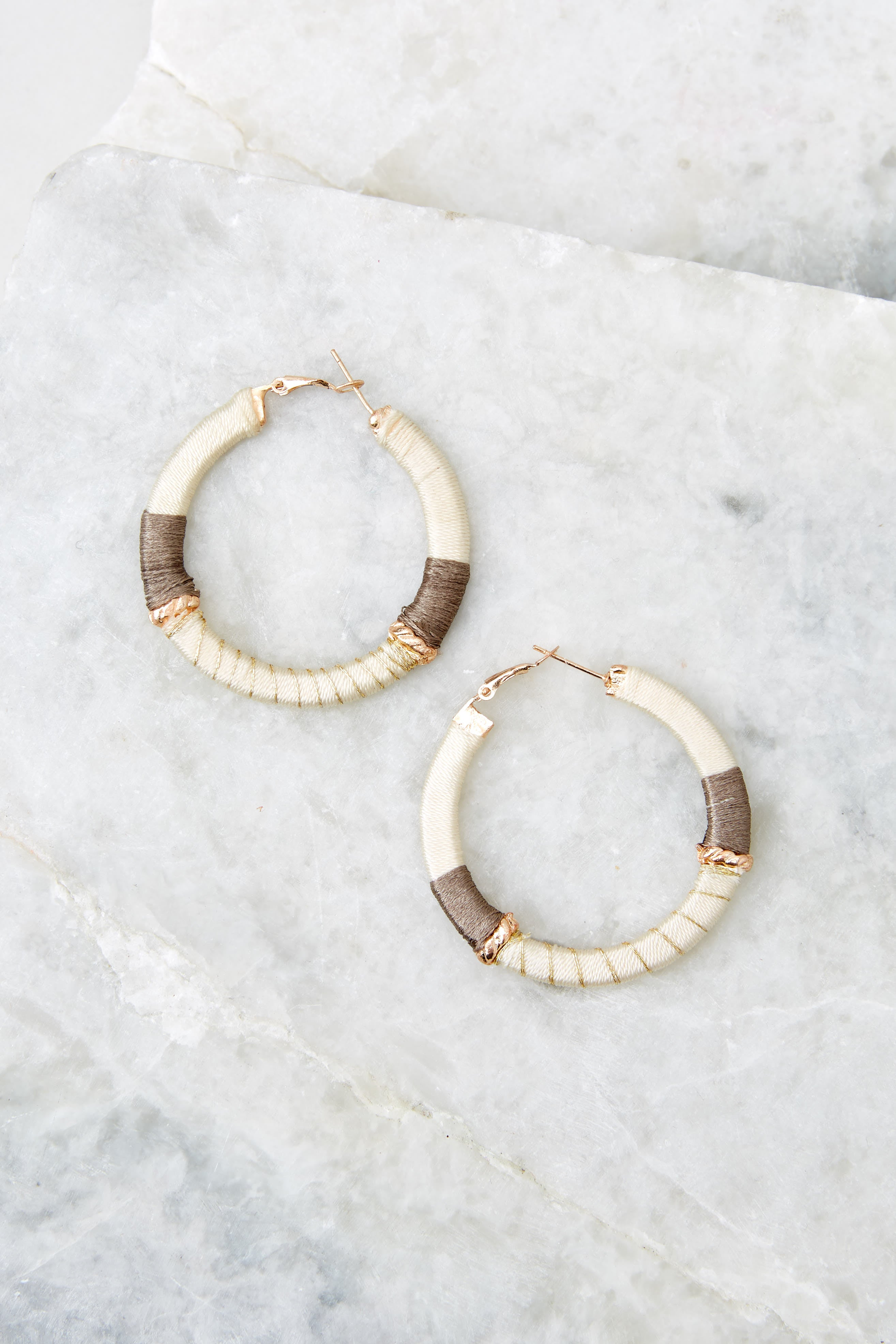 2 Just A Minute Ivory Hoop Earrings at reddressboutique.com