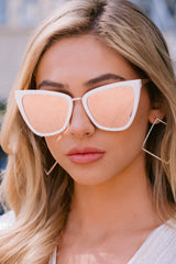 3 Reina Pearl Rose Mirror Sunglasses at reddressboutique.com