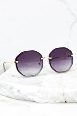 2 Obvious Glamour Black Fade Gold Sunglasses at reddressboutique.com