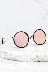 2 Beyond Classic Pink Mirror Black Sunglasses at reddressboutique.com