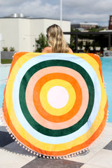 1 All Around Orange Multi Round Beach Towel at reddressboutique.com