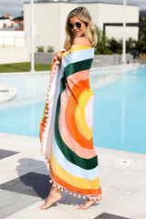 2 All Around Orange Multi Round Beach Towel at reddressboutique.com