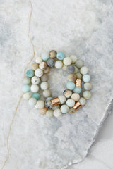 2 The Best Part Light Green Multi Beaded Bracelet Set at reddressboutique.com
