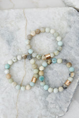 3 The Best Part Light Green Multi Beaded Bracelet Set at reddressboutique.com
