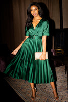 Tall V-neck Belted Pleated Short Sleeves Sleeves Evening Dress/Midi Dress