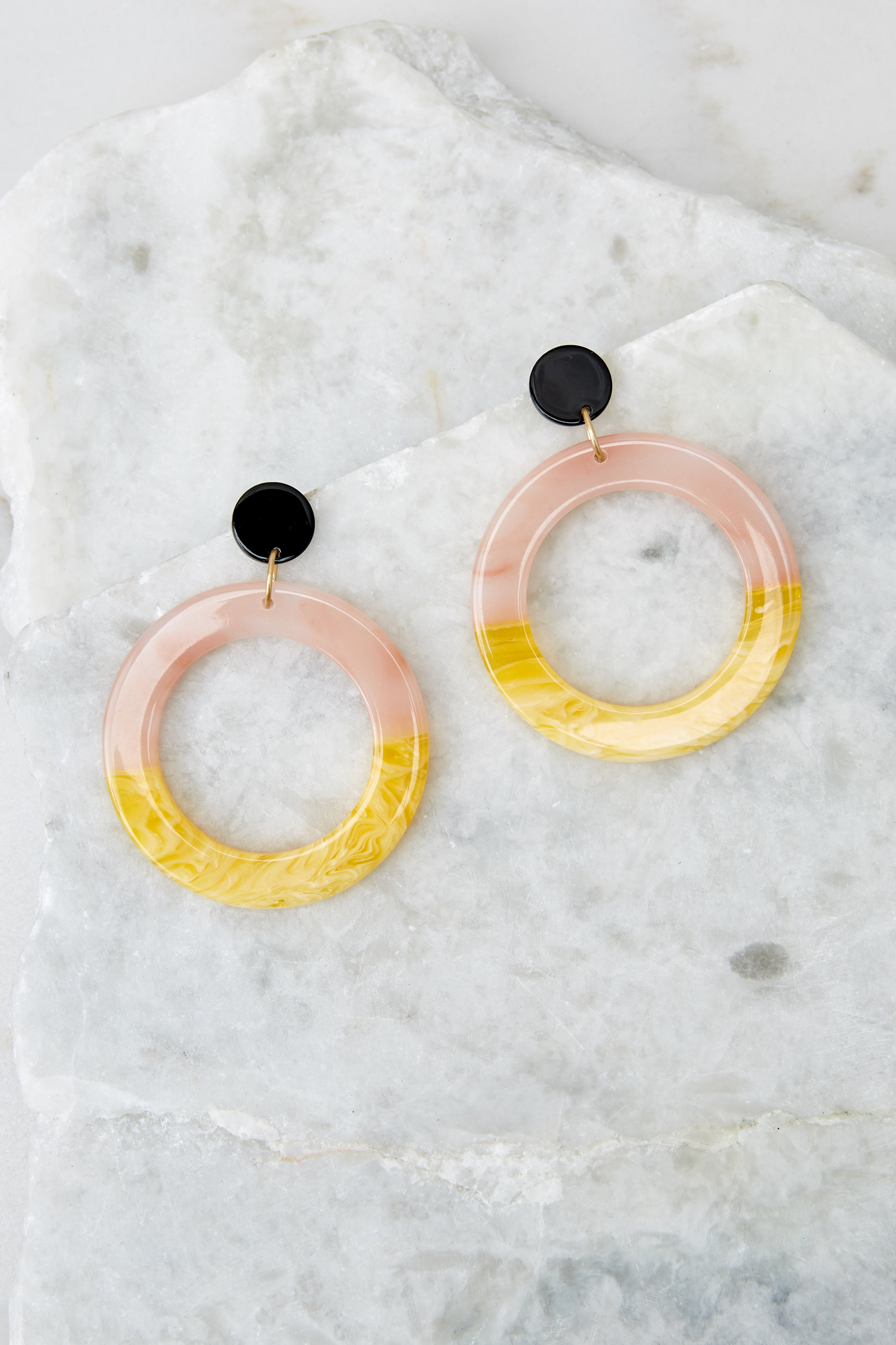 2 Outstanding Lines Pink Multi Acrylic Earrings at reddressboutique.com