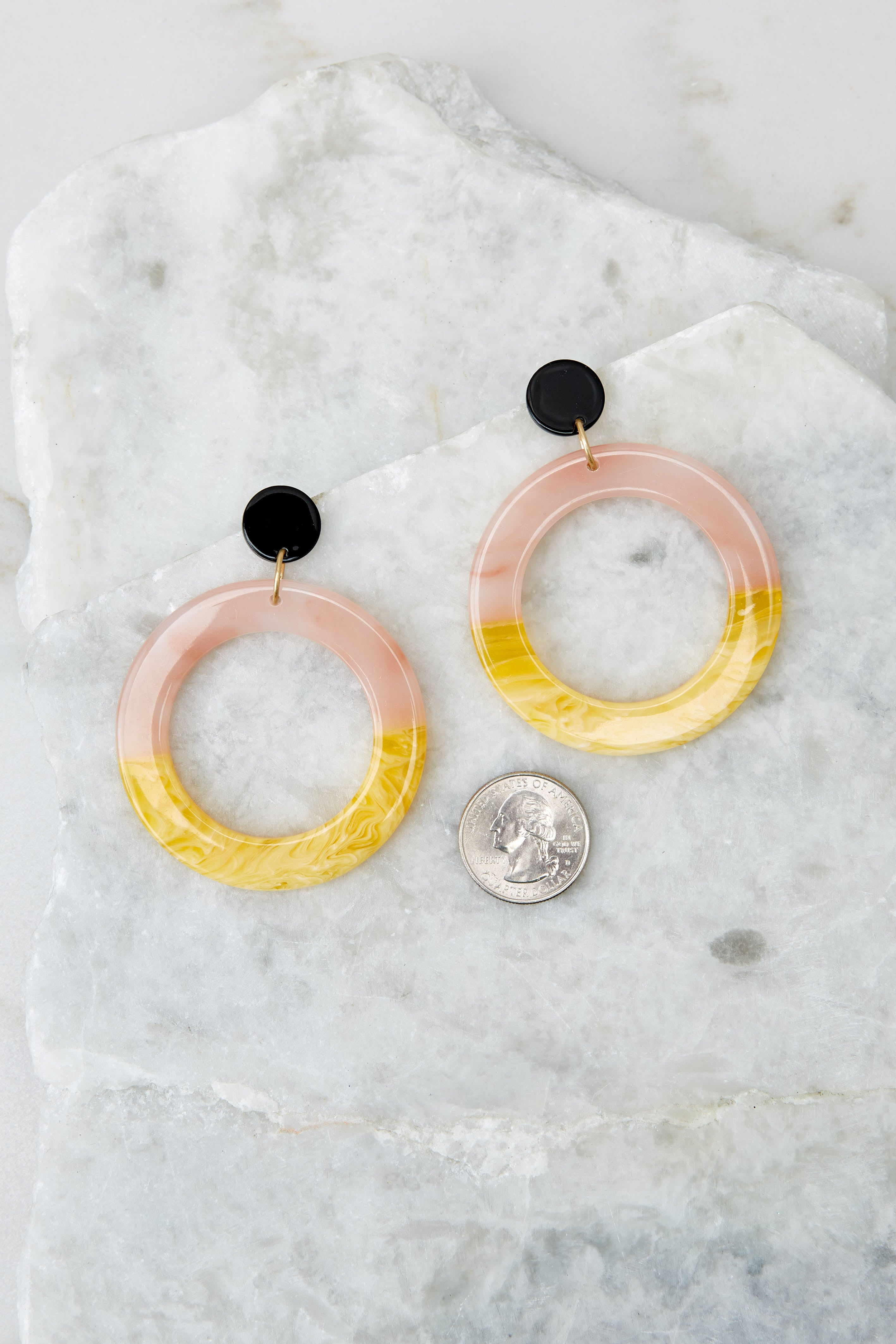 3 Outstanding Lines Pink Multi Acrylic Earrings at reddressboutique.com