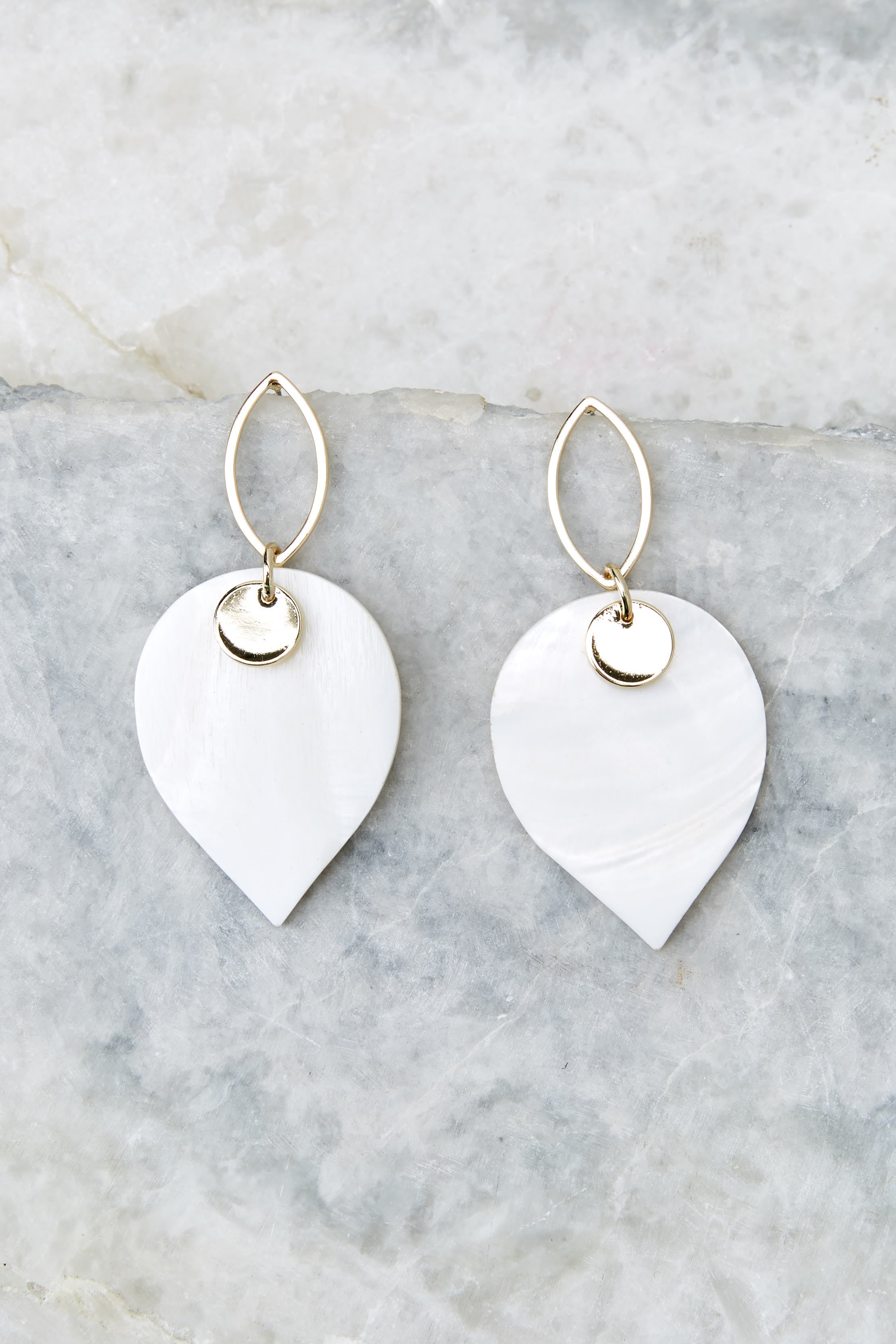 2 Hearts Over Spades White and Gold Earrings at reddressboutique.com