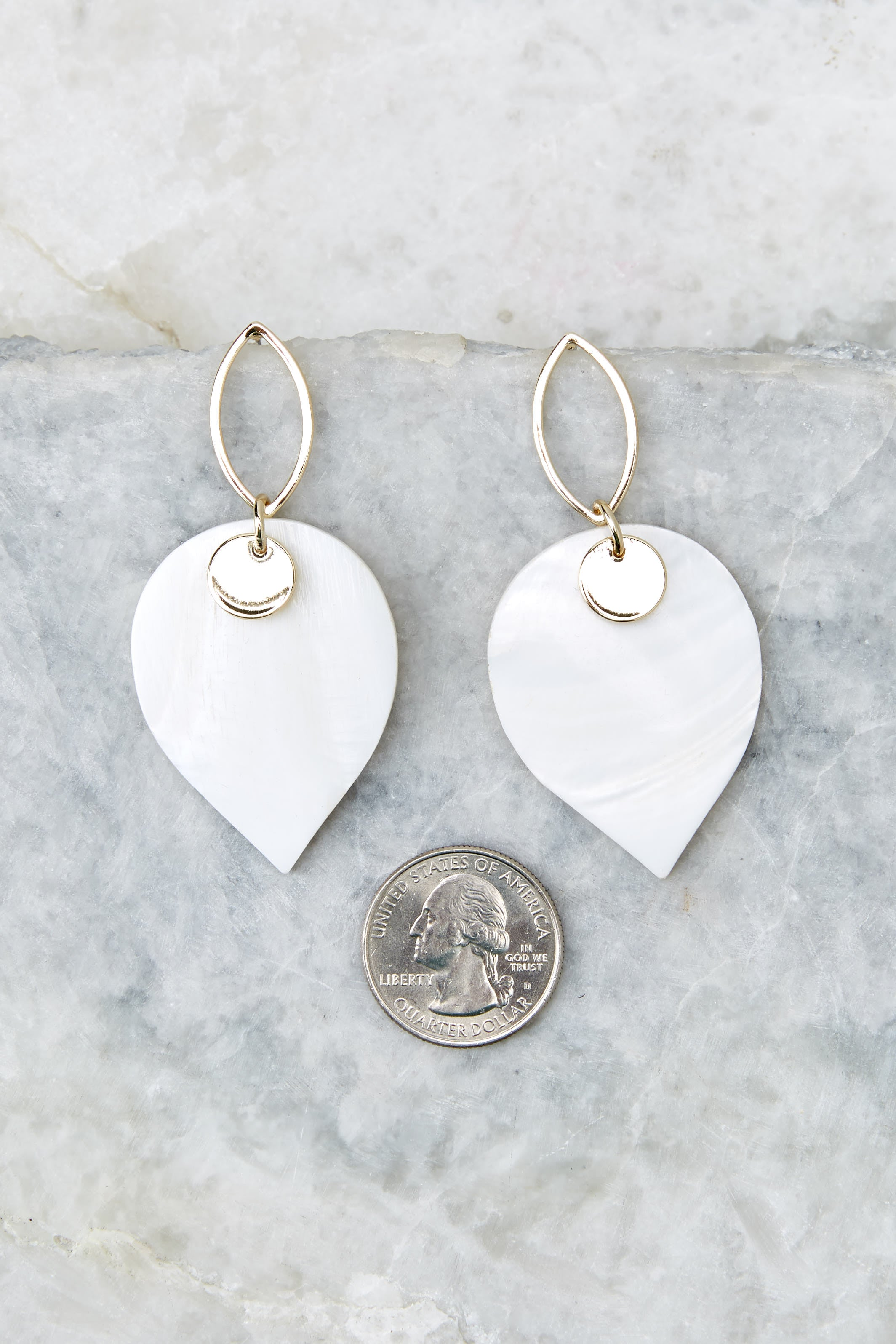 3 Hearts Over Spades White and Gold Earrings at reddressboutique.com