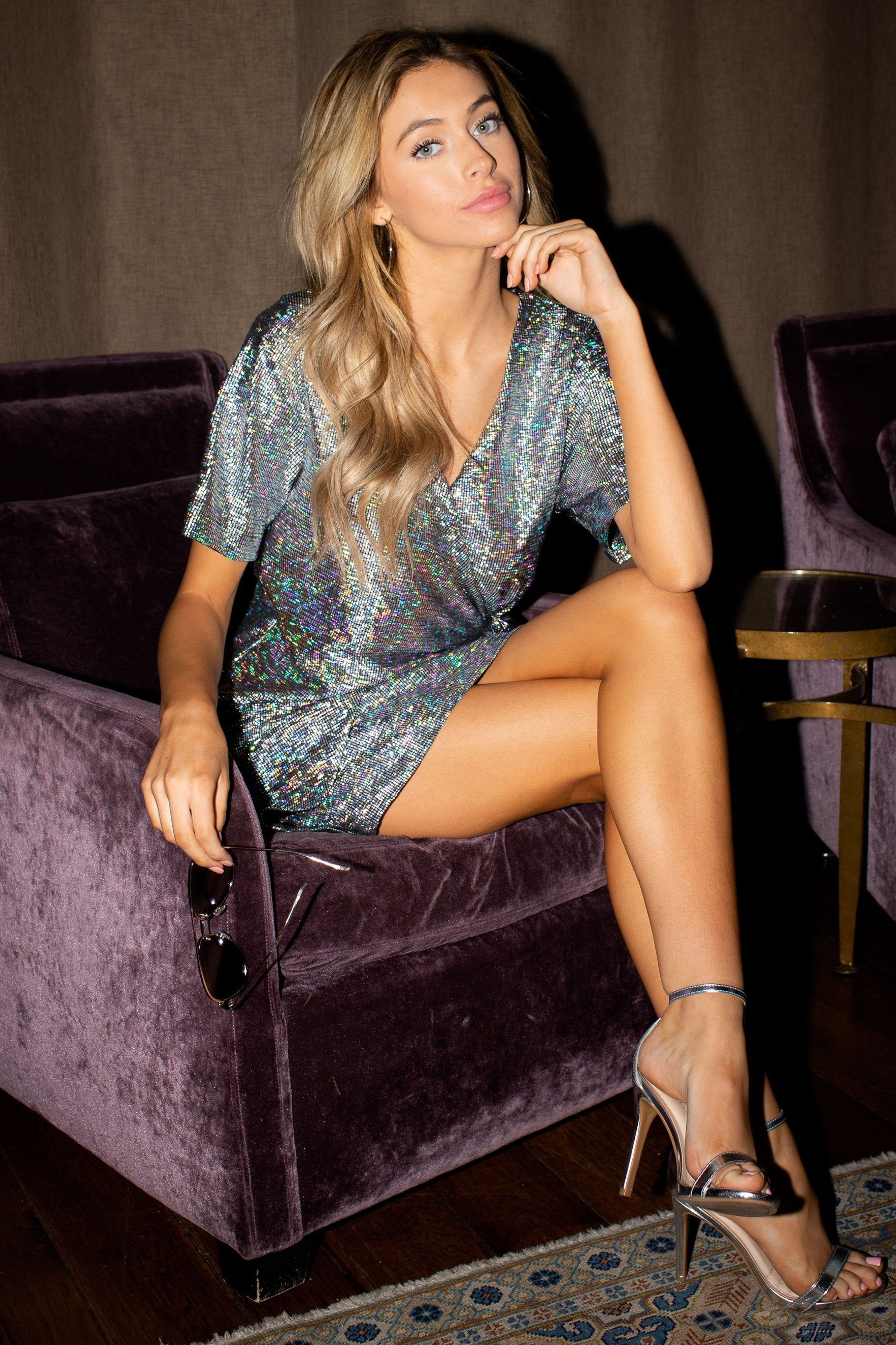 9 Won't Forget Me Silver Holographic Dress at reddressboutique.com