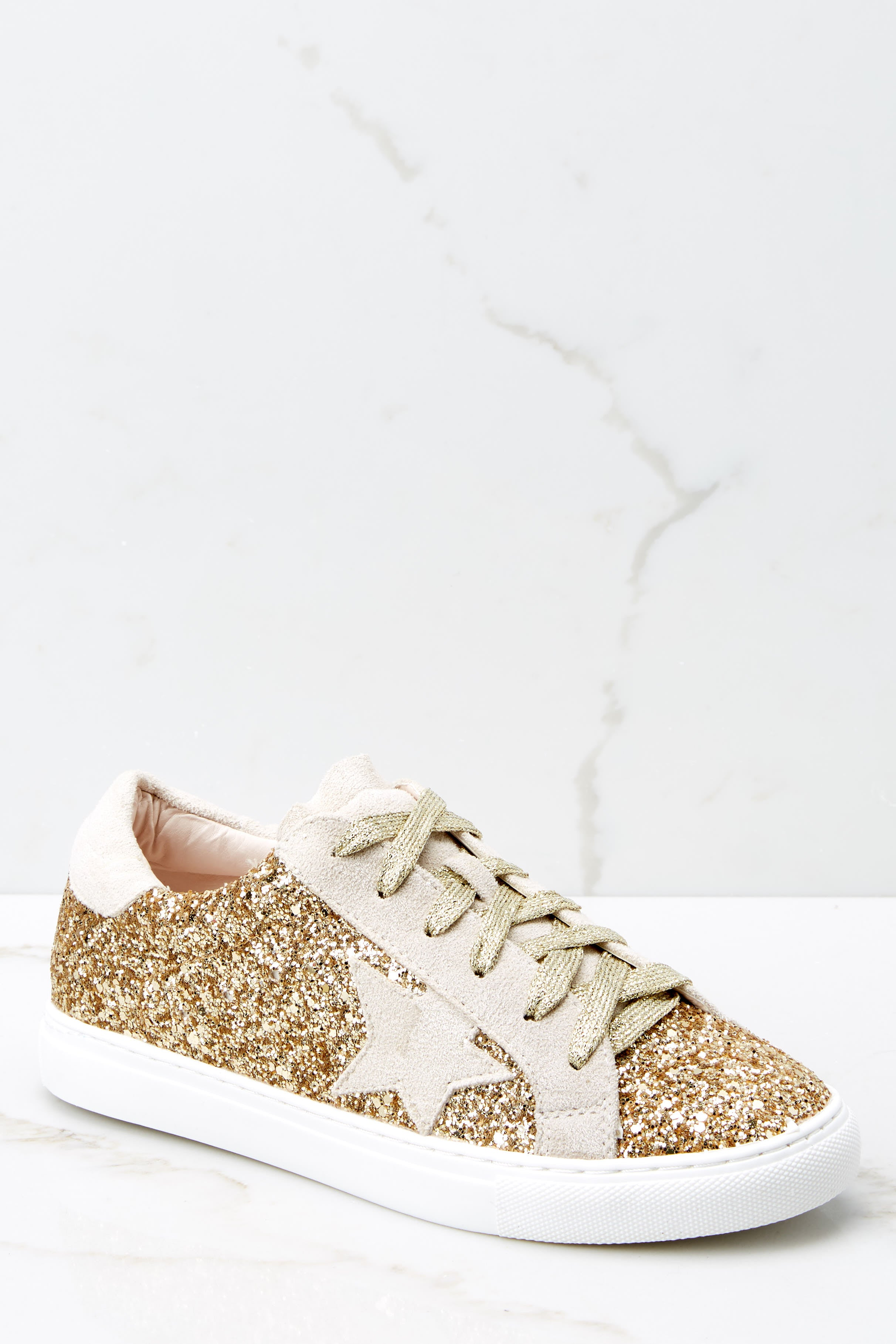 1 Getting Better Gold Glitter Sneakers at reddressboutique.com