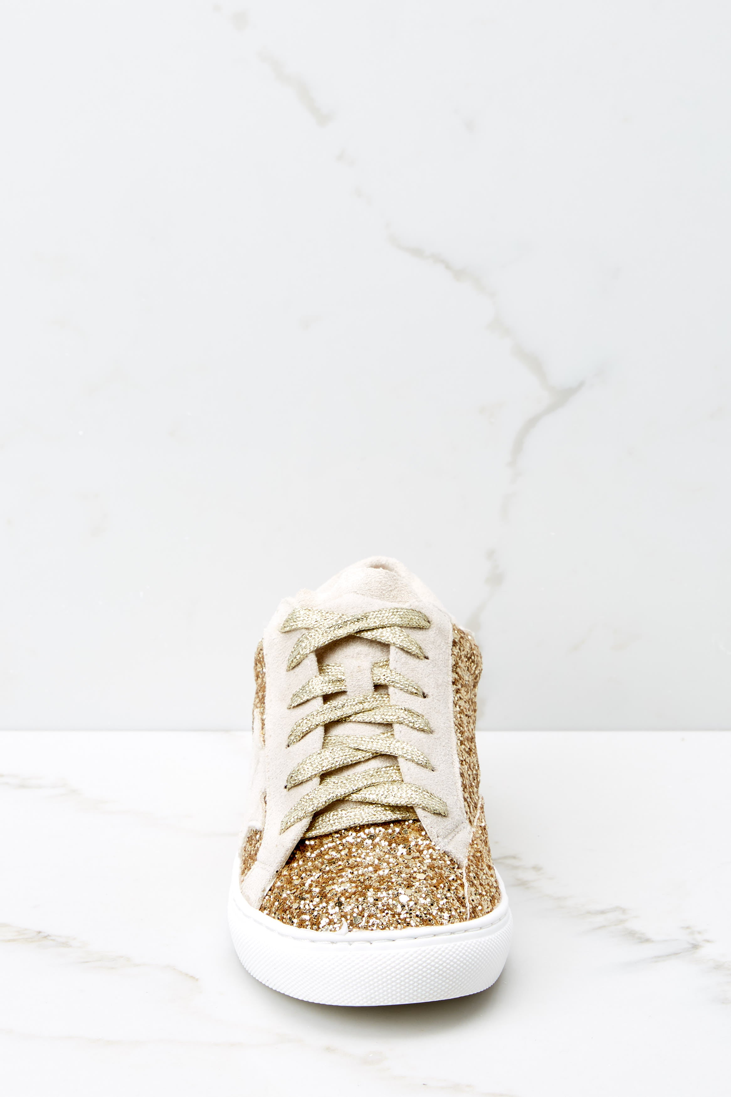2 Getting Better Gold Glitter Sneakers at reddressboutique.com