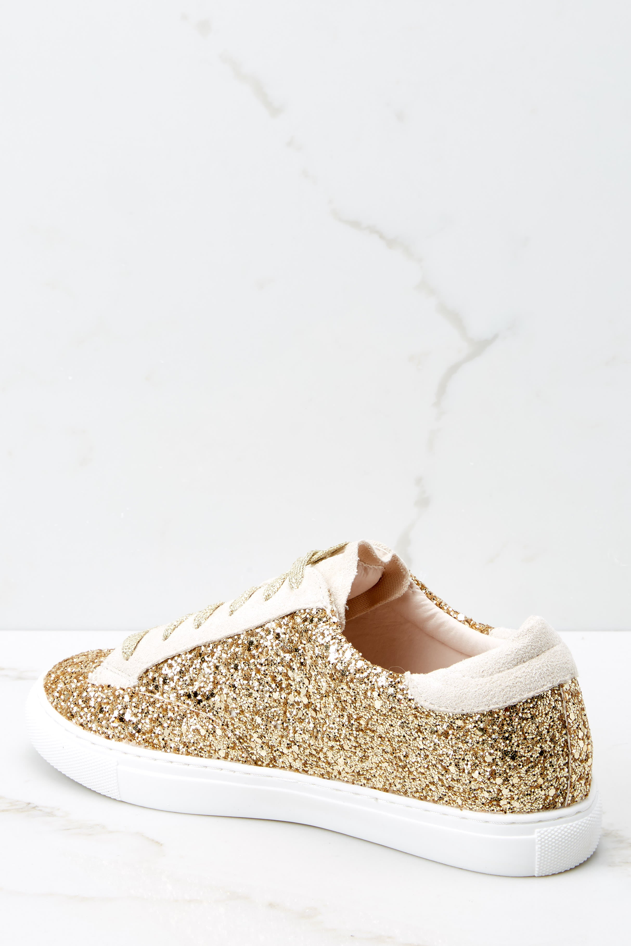 3 Getting Better Gold Glitter Sneakers at reddressboutique.com