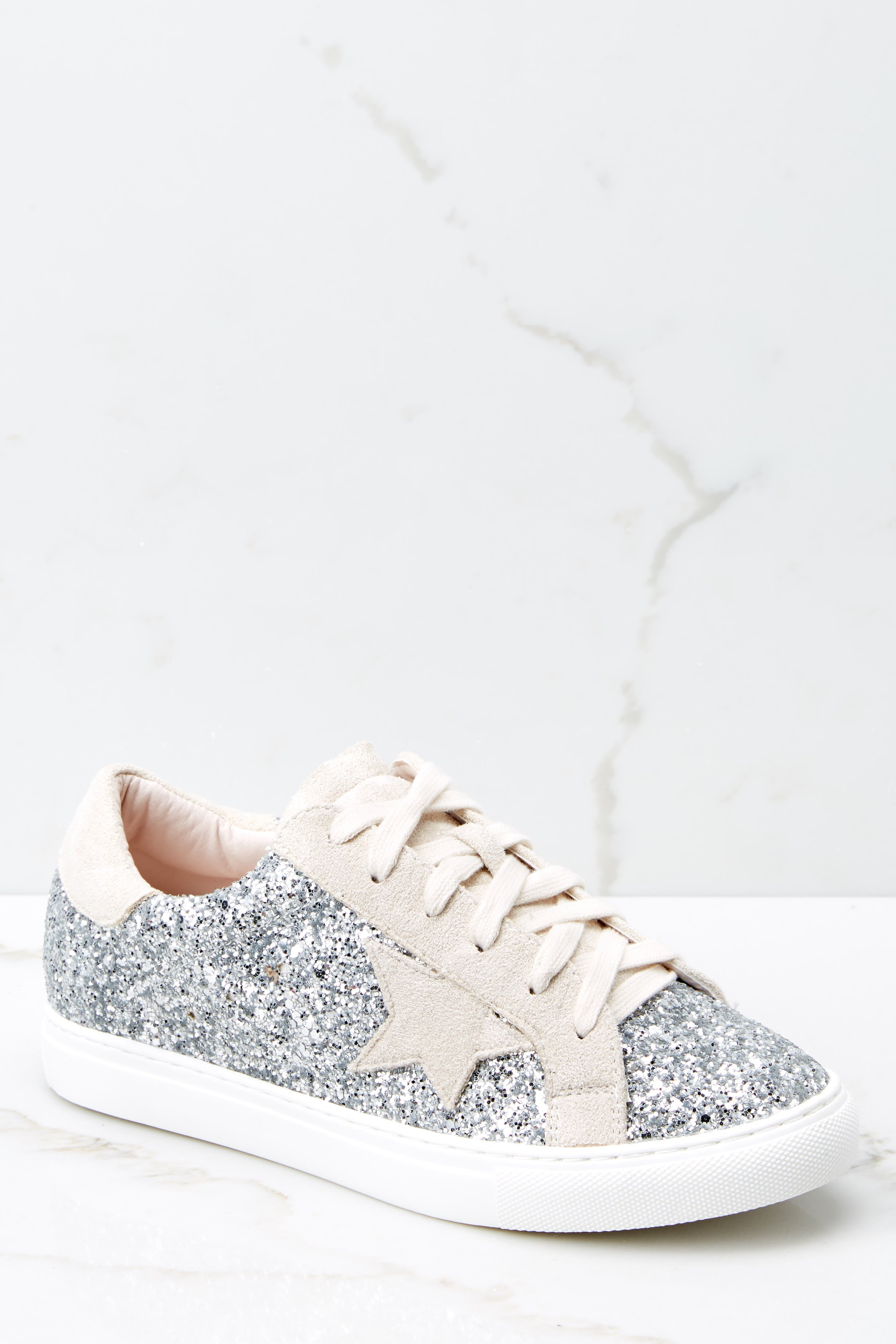 2 Getting Better Silver Glitter Sneakers at reddress.com