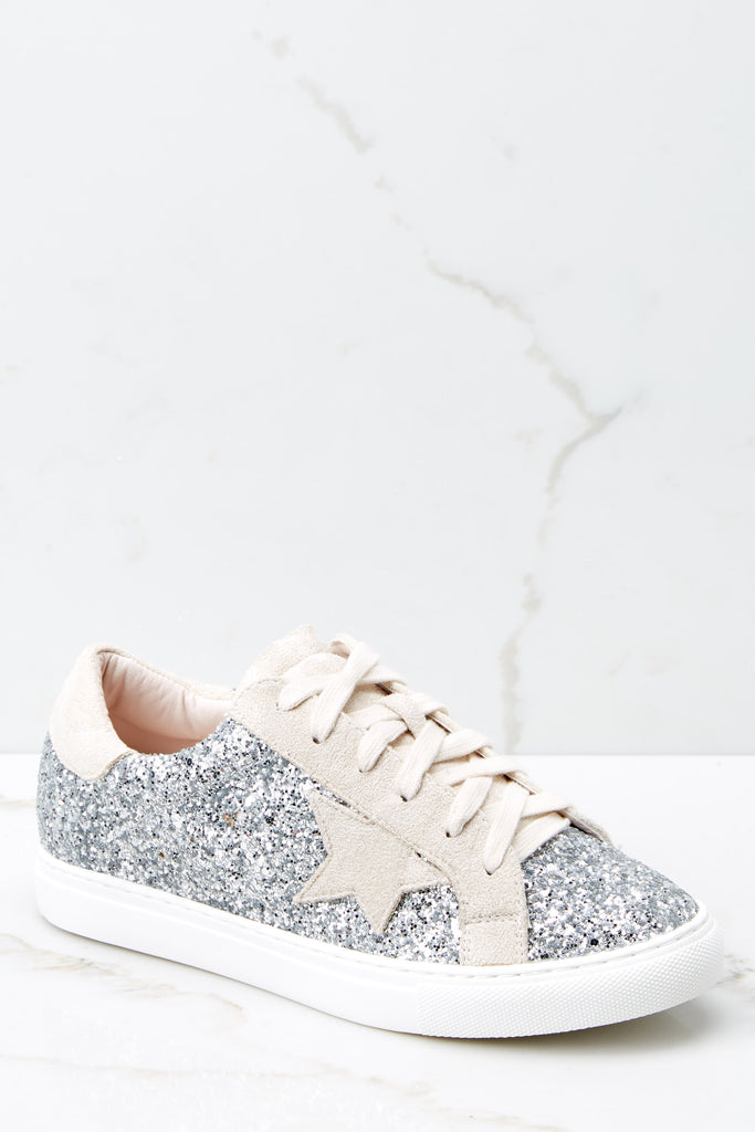 Getting Better Silver Glitter Sneakers by Nature Breeze