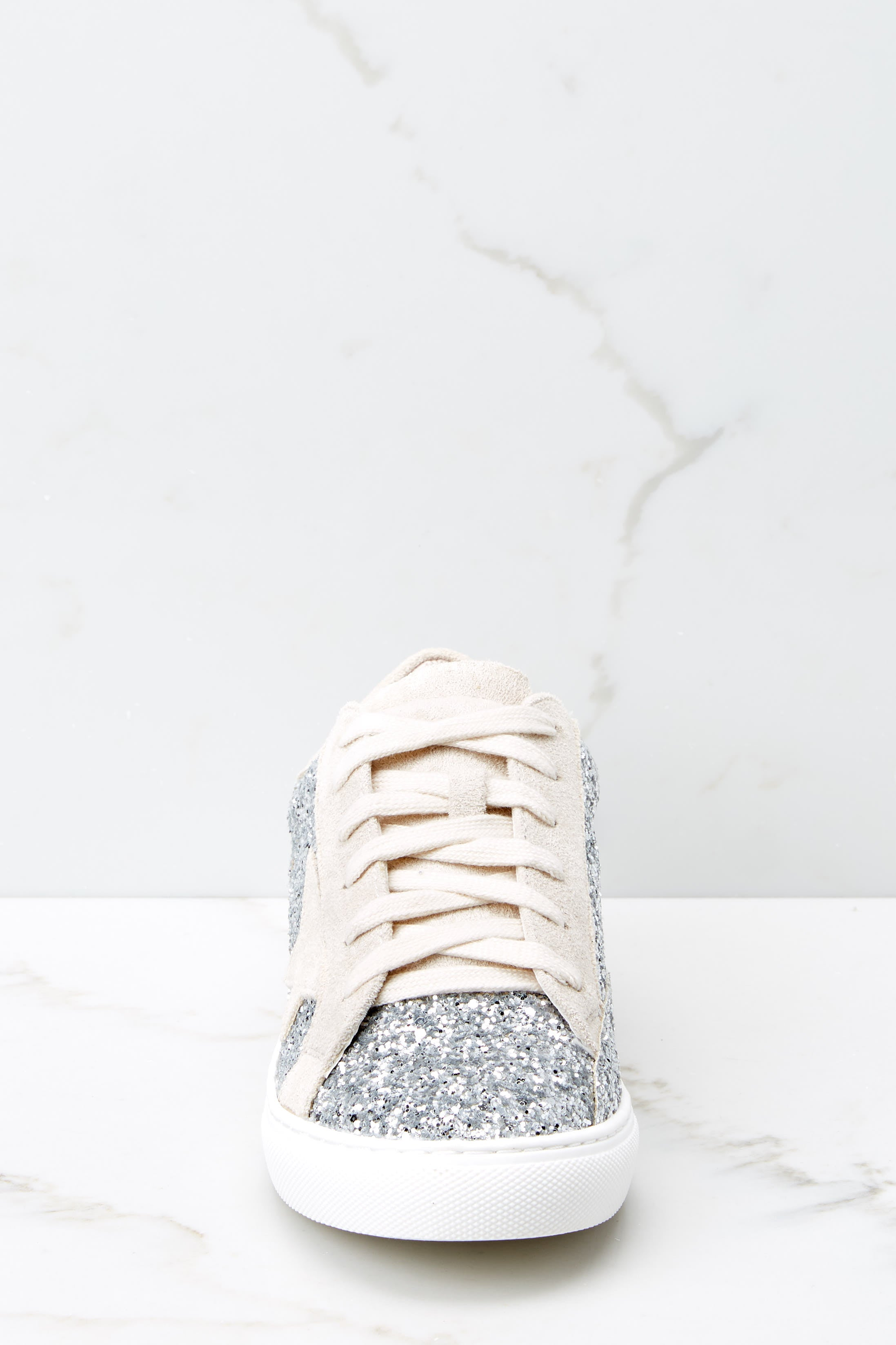 3 Getting Better Silver Glitter Sneakers at reddress.com