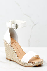 1 White Noor Wedges at reddressboutique.com