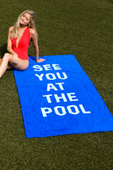 1 See You At The Pool Blue Beach Towel at reddressboutique.com