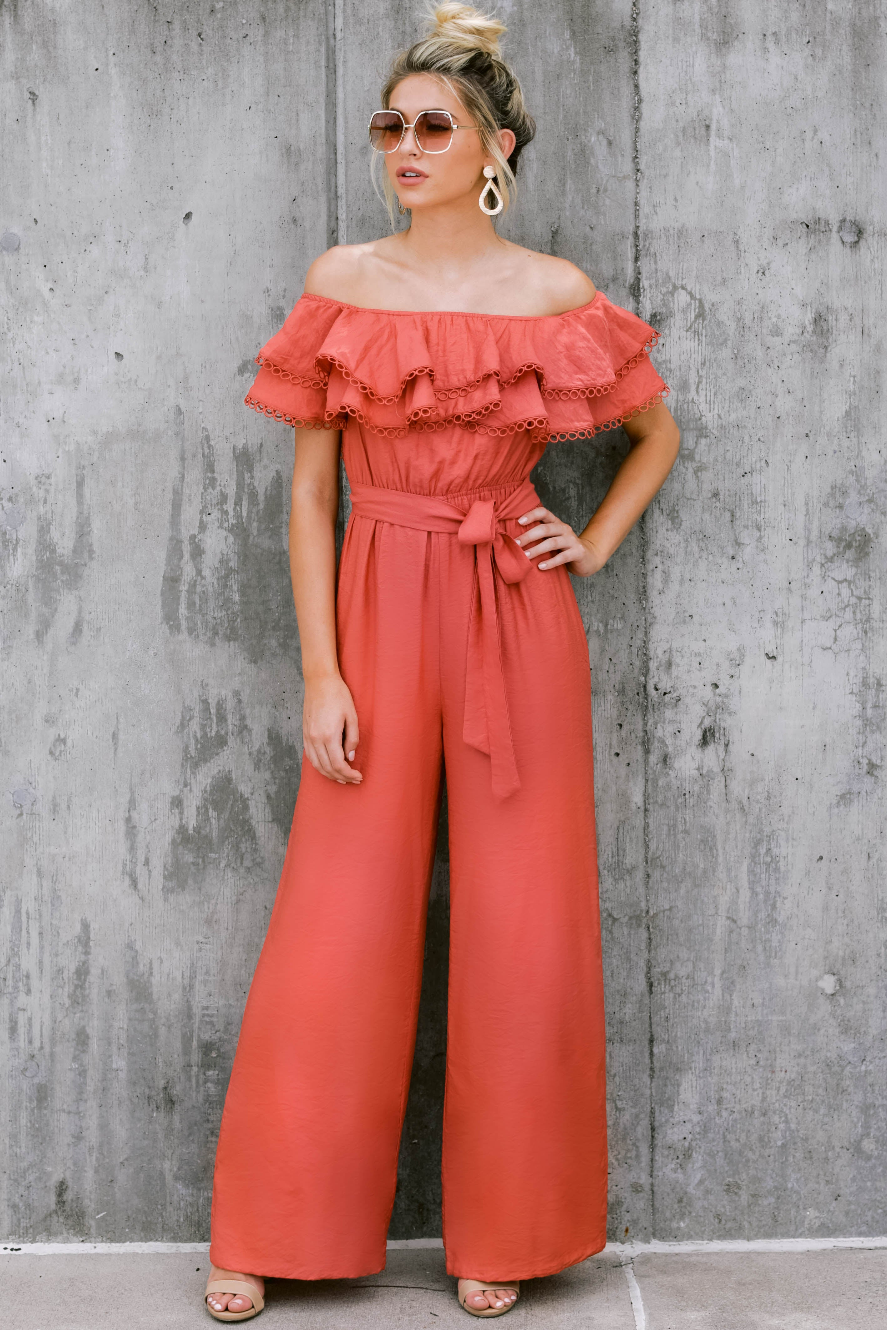 1 Meeting In Paris Poppy Red Off The Shoulder Jumpsuit at reddressboutique.com