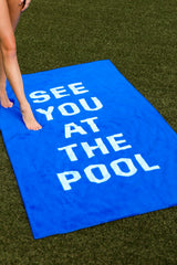 2 See You At The Pool Blue Beach Towel at reddressboutique.com