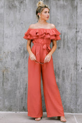 2 Meeting In Paris Poppy Red Off The Shoulder Jumpsuit at reddressboutique.com