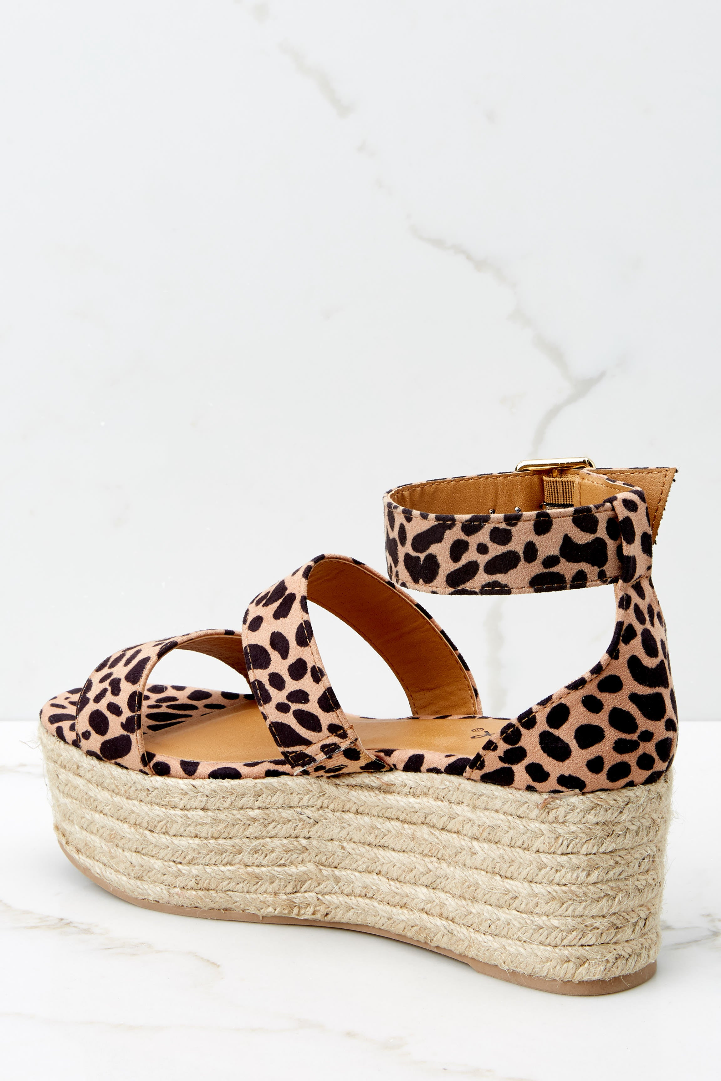 3 Fashionable Heights Cheetah Print Flatform Sandals at reddressboutique.com