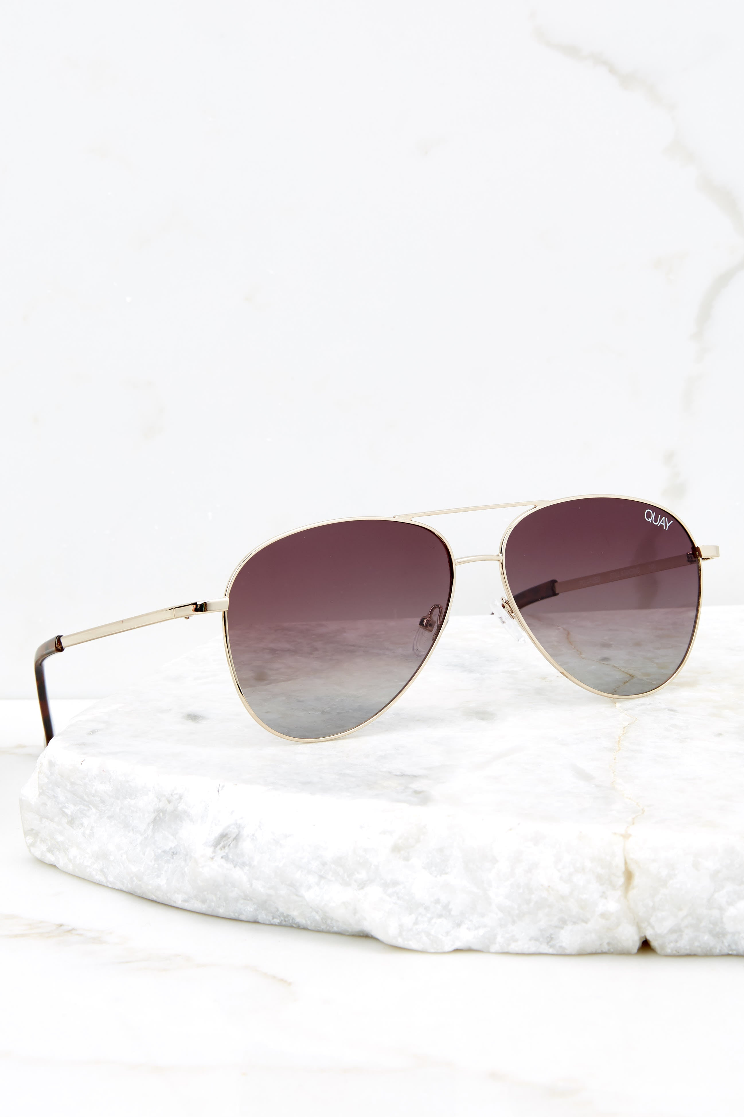 2 Still Standing Gold Smoke Taupe Sunglasses at reddressboutique.com