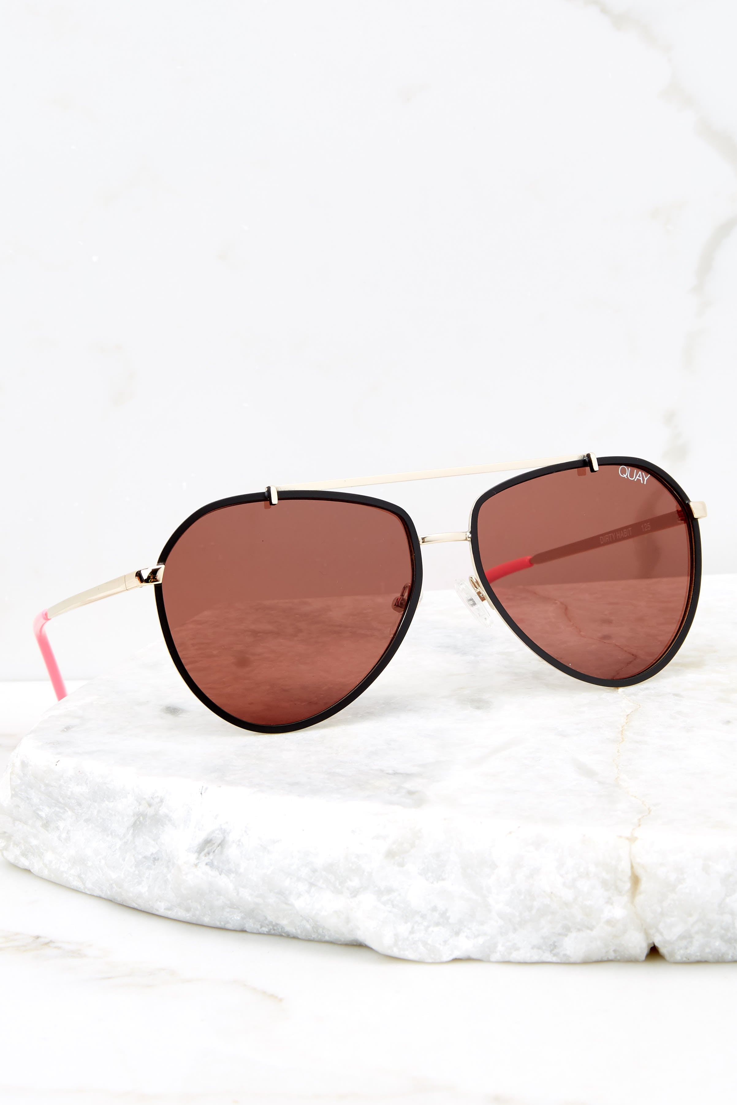 4 Dirty Habit Gold Brown Sunglasses at reddress.com